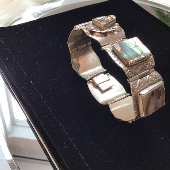 Jewelry - Sterling Silver Bracelet with Abalone Inlay